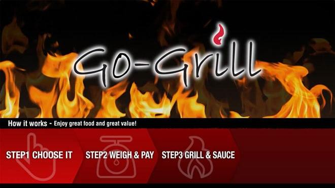 Digital menu board design for go-grill a food court restaurant detailing the order process