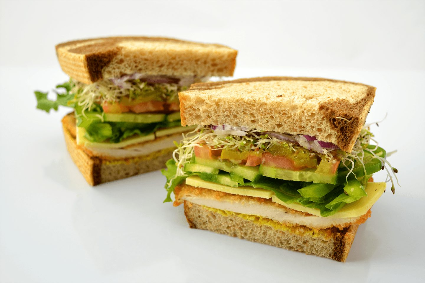 Beautiful sandwich cut from the middle