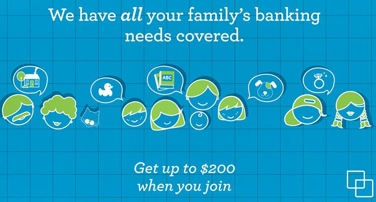 A sample of the digital signage being displayed at Westminster Savings Credit Union promoting family banking