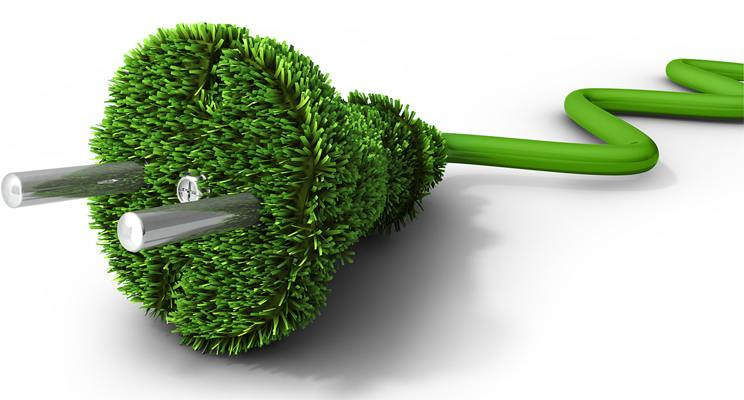 Electronic power cord with grass growing out of the head and a green cable