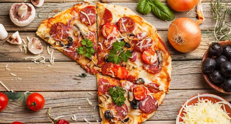 Top fown photo of artisinal pizza