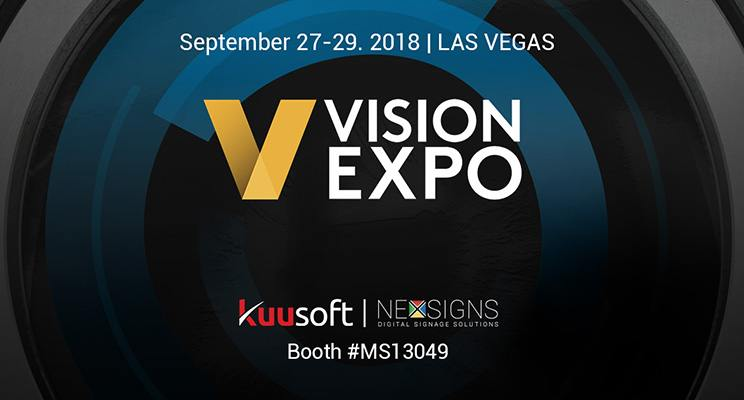 Vision Expo West 2018 banner with optical design event details and Kuusoft's booth #MS13049 are detailed