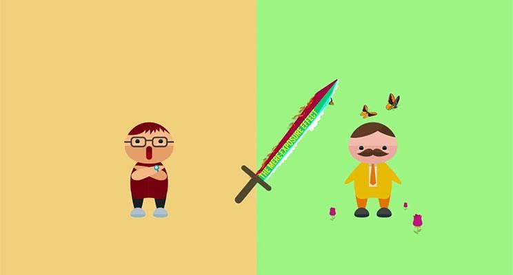 A sword with mere exposure on it swings between two cartoon men