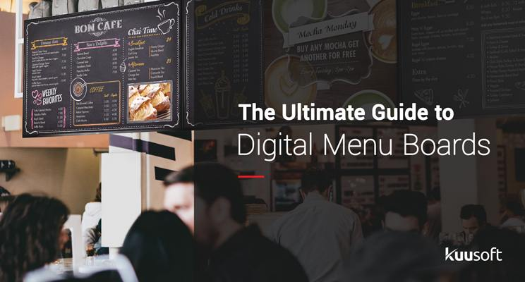 "Text in the foreground ""The Ultimate Guide to Digital Menu Boards"" with a cafe background with digital menu boards installed"