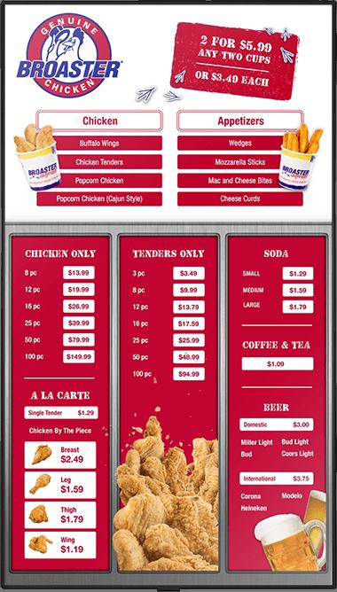Design for Broaster's drive-thru digital menu board
