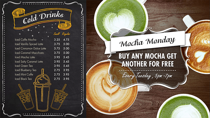 Digital menu board with a promotion section for matcha drinks for a cafe/coffee shop