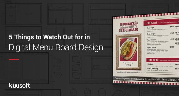 Text reading five things to watch out for when designing a digital menu board with a digital menu board to the right