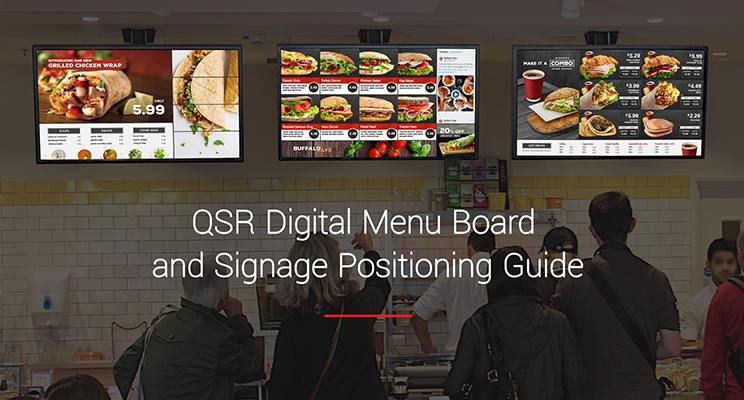 Digital menu boards in a quick service restaurant with the tital QSR Digital Menu Board and Digital Signage Positioning Guide