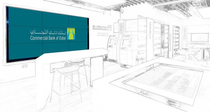 Commercial Bank of Dubai retail branch video wall