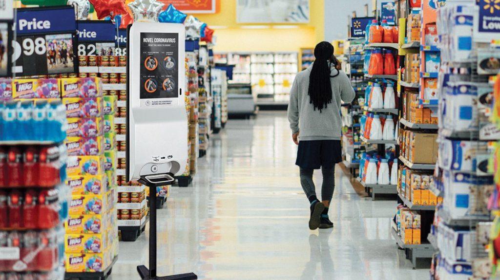 digital hand sanitizer dispenser, at supermarket
