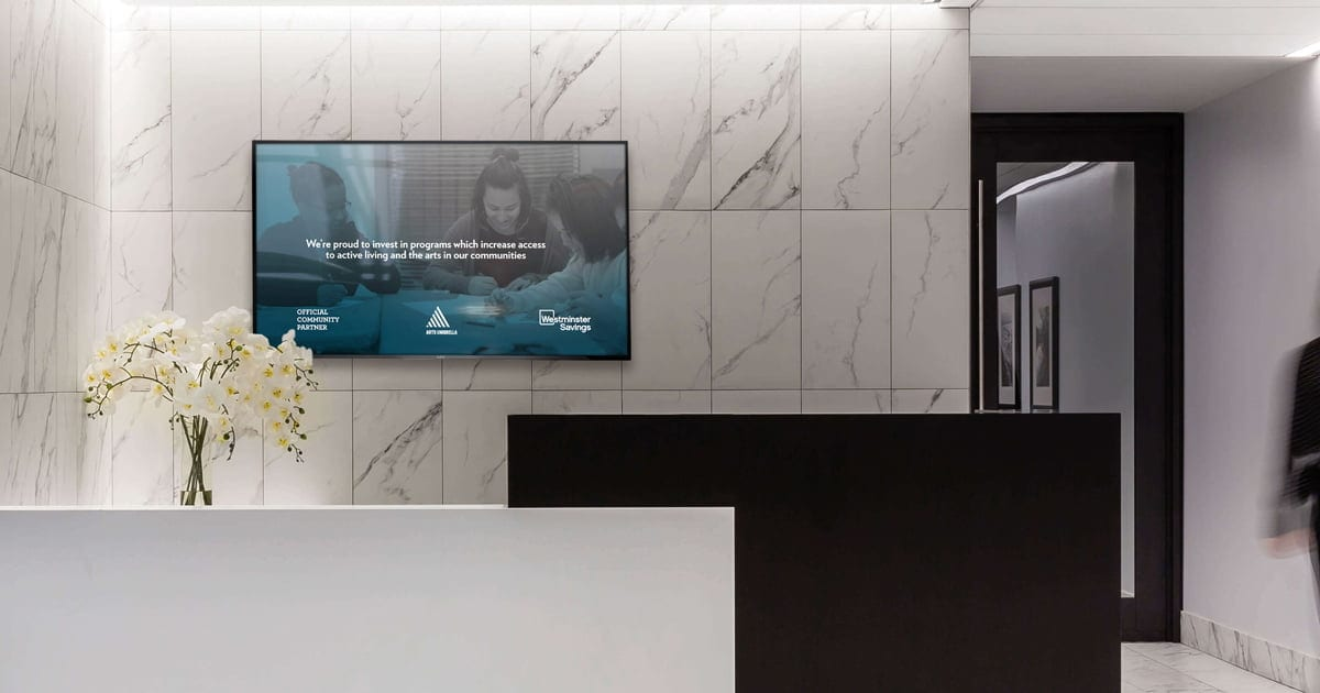 Digital signage at a premier banking retail
