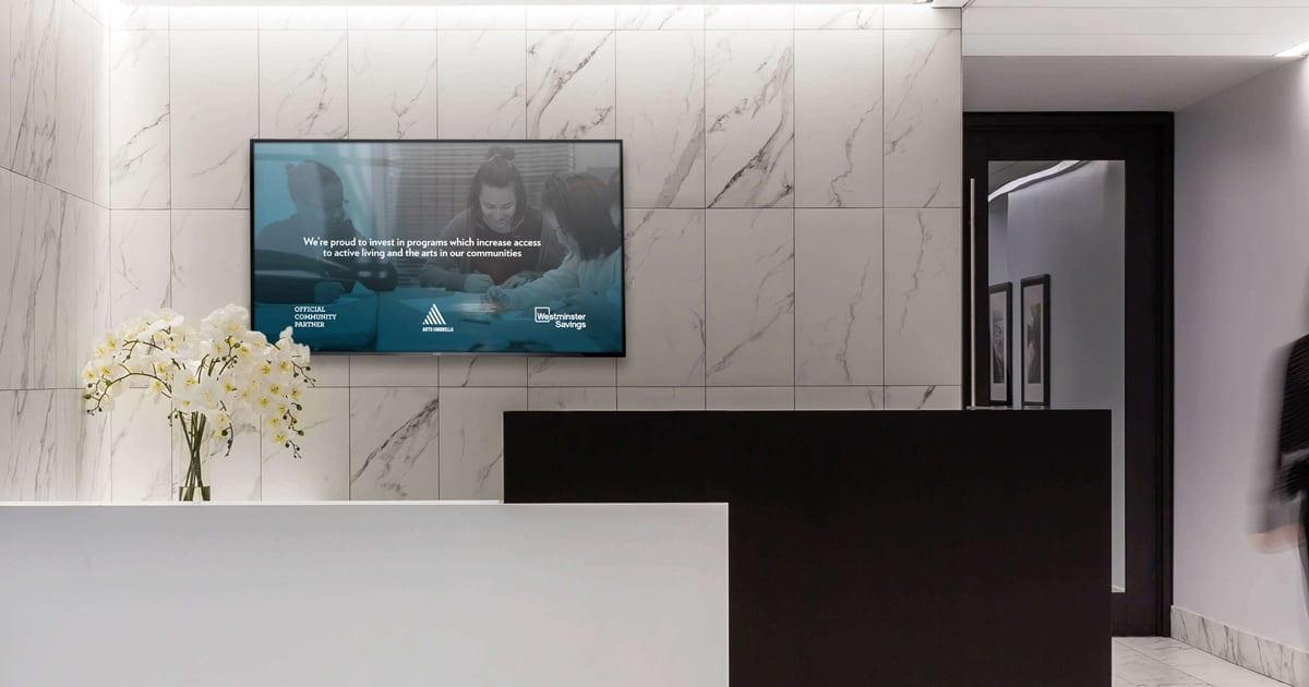 Digital signage at a premier banking retail