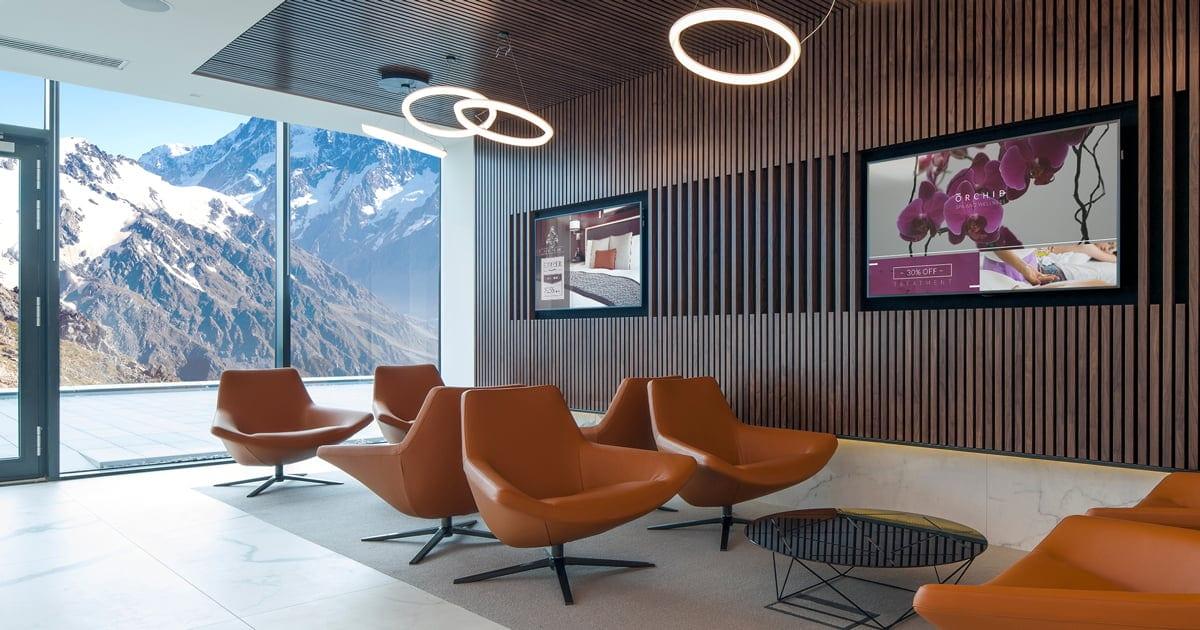 hotel spa with modern digital signage wall