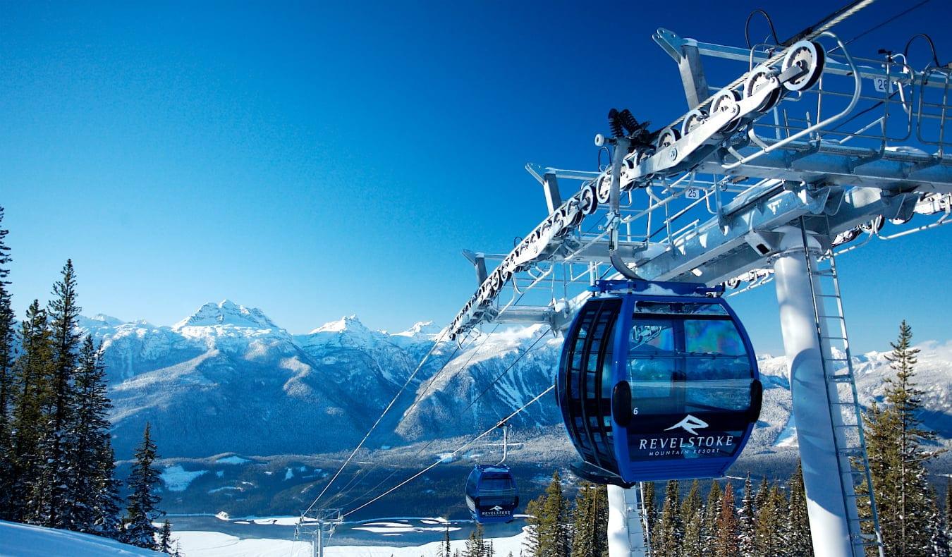 ski lift in the snow mountain