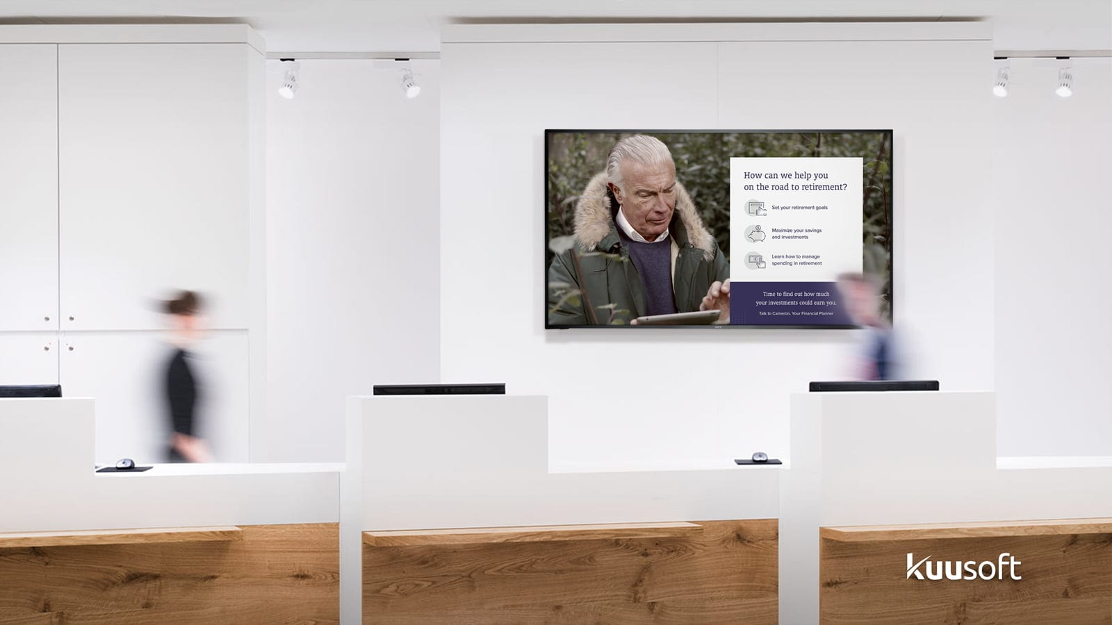 Bank in-branch digital signage with retirement banking content