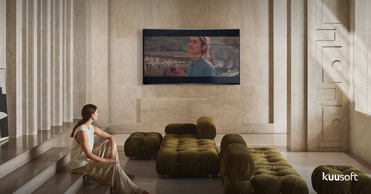 a romantic hotel lobby with modern digital signage