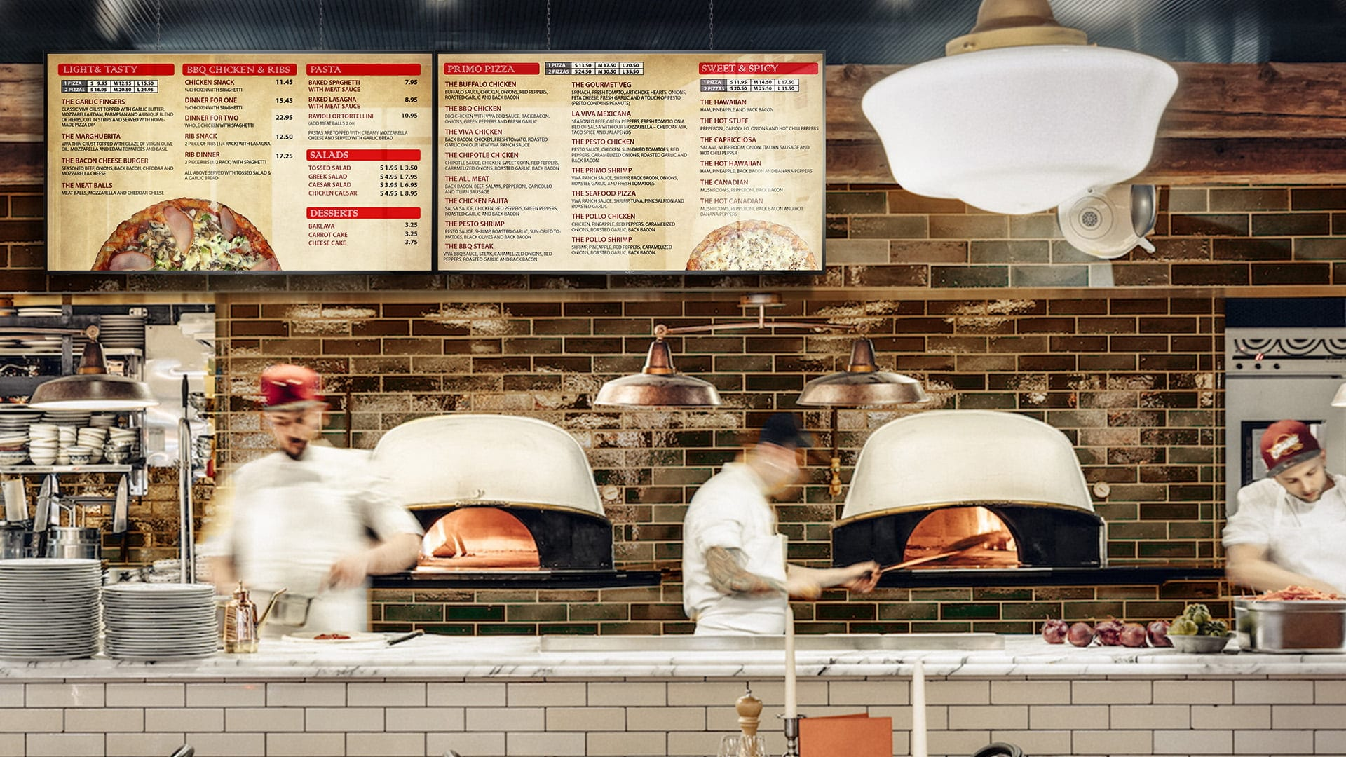 profitable pizza menu with a lot of items on it