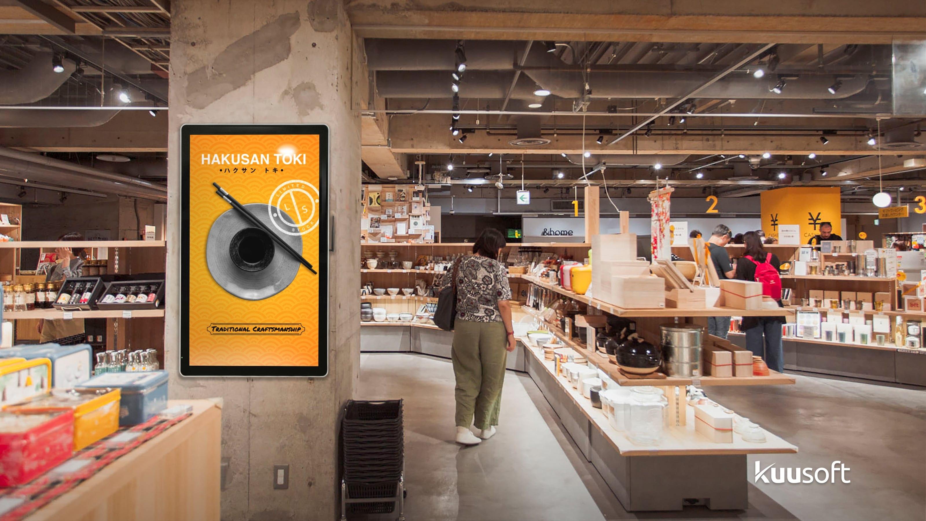 Retail Digital Signage with Hakusan Toki. Traditional Craftsmanship store