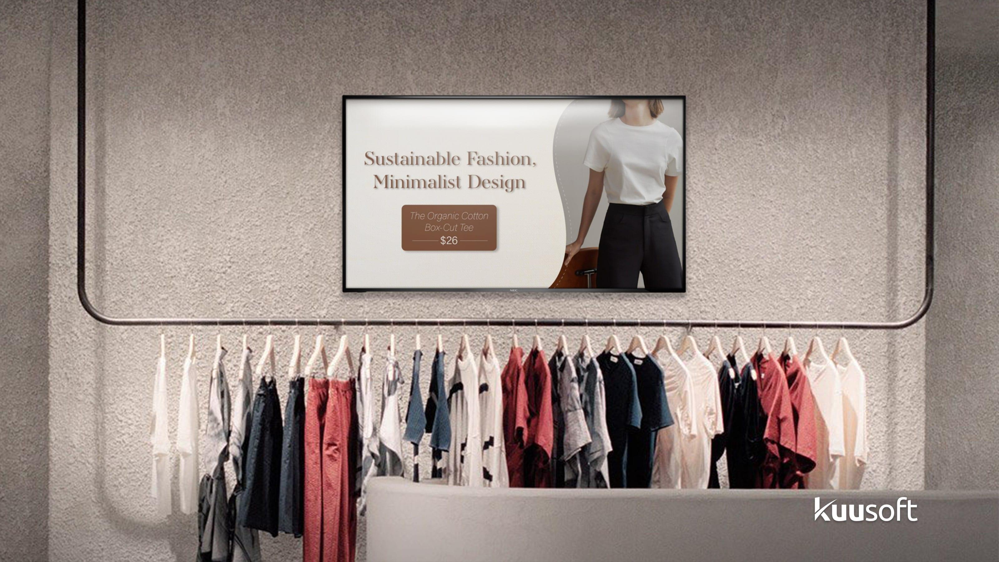 Retail digital signage for Sustainable Fashion, Minimalist Design The Organic Cotton Box-Cut Tee $26