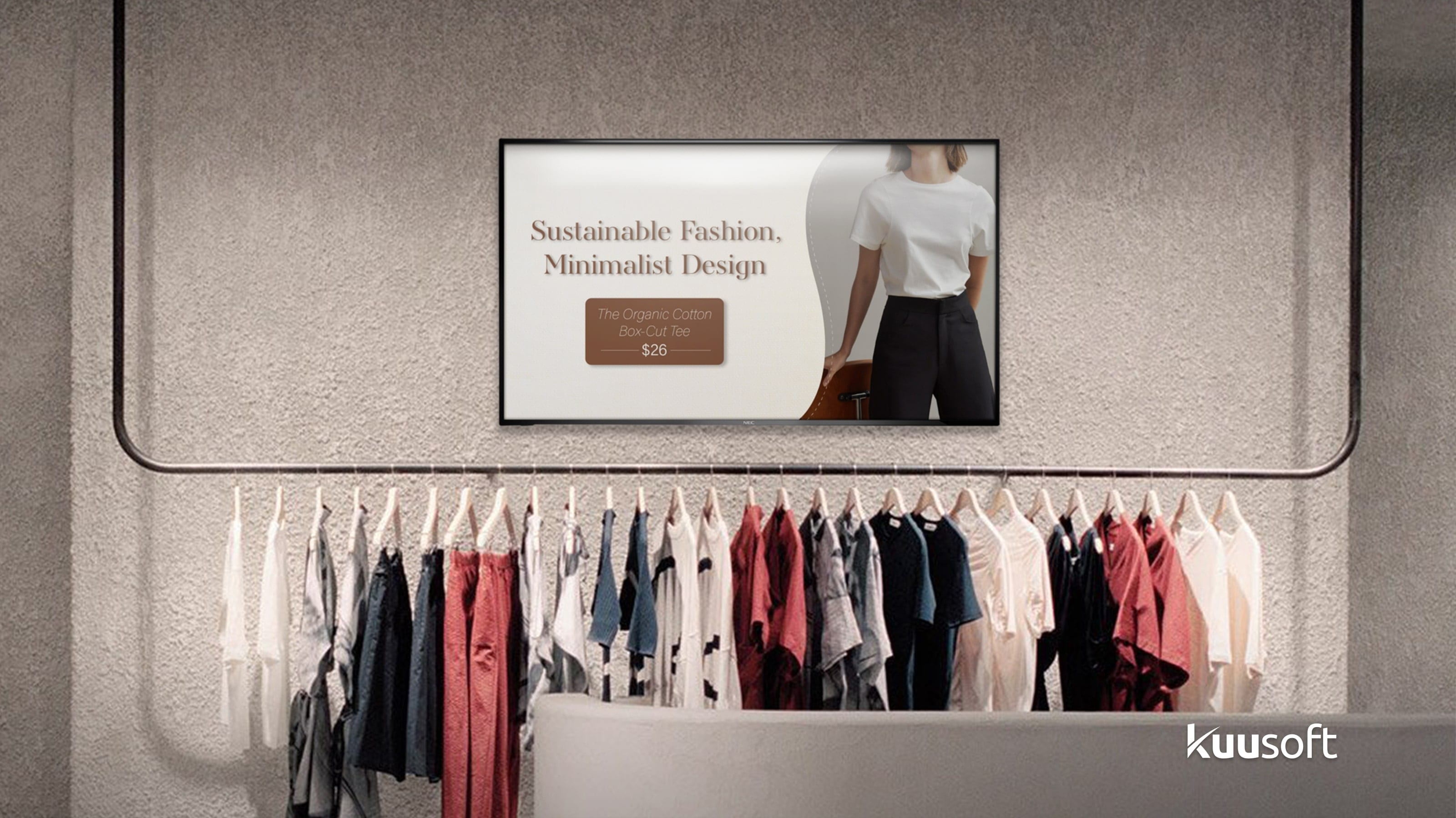 Retail digital signage for Sustainable Fashion, Minimalist Design The Organic Cotton Box-Cut Tee $26