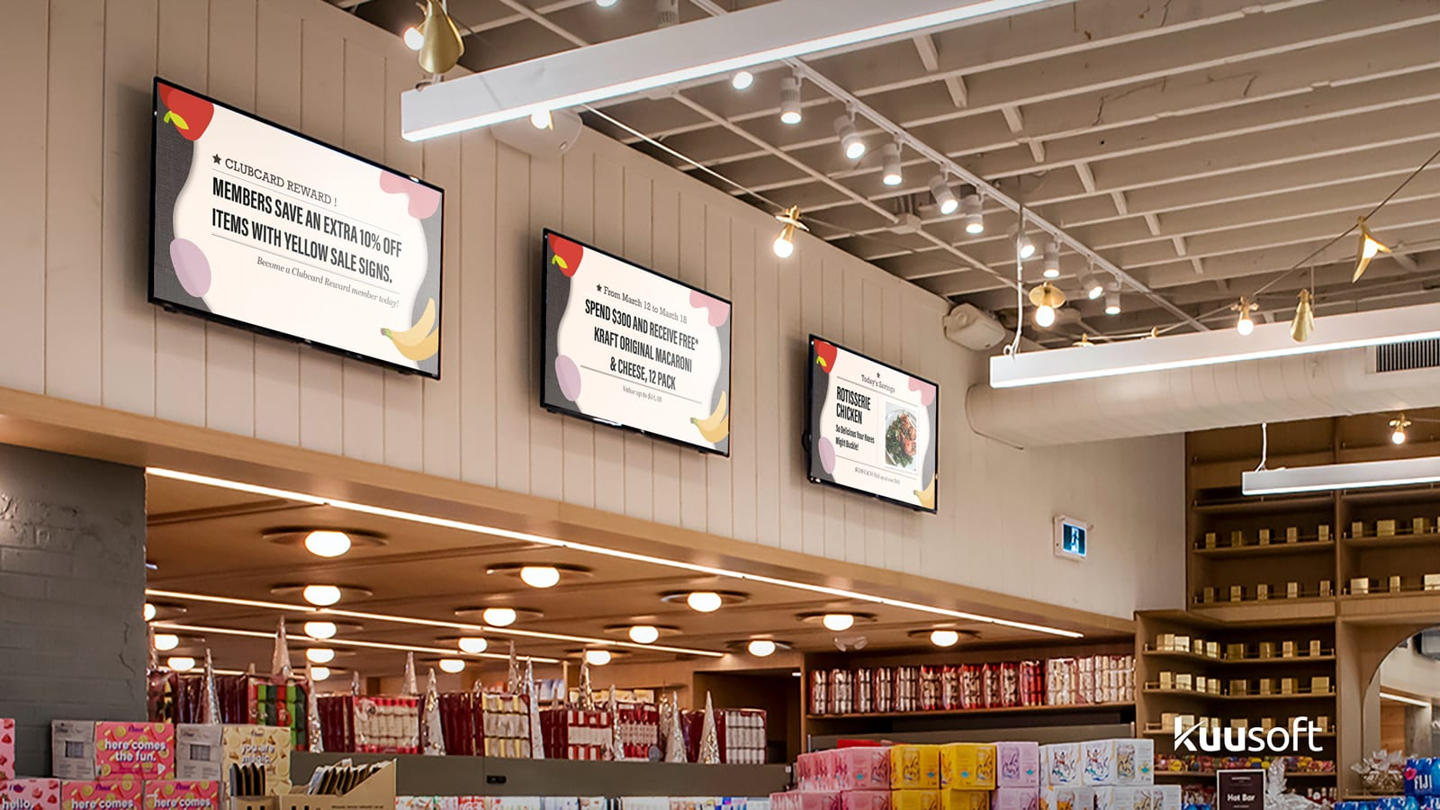 grocery store digital signage with useful information