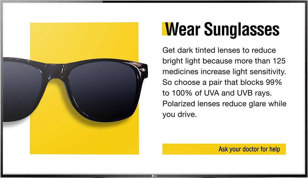 Digital signage TV display showing an Optical Content Library advice design on sunglasses and UVA and UVB rays