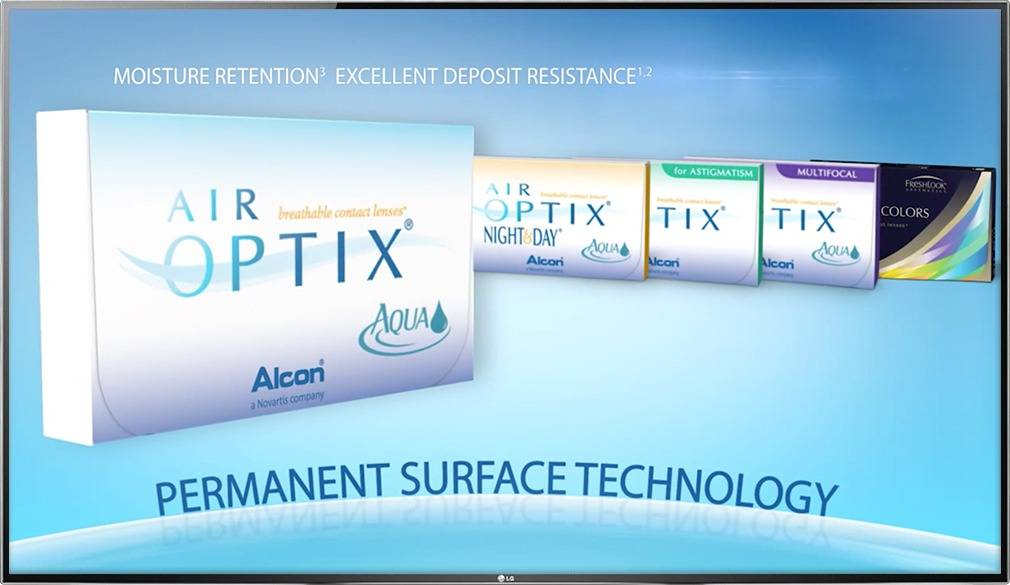 Digital signage TV display with an Optical Content Library commercial for contact lenses