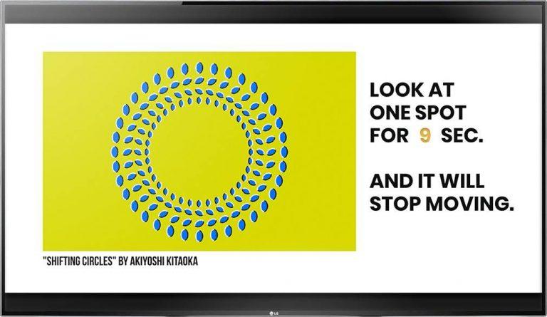 Digital signage TV display with an Optical Content Library optical illusion Shifting Circles by Akiyoshi Kitaoka