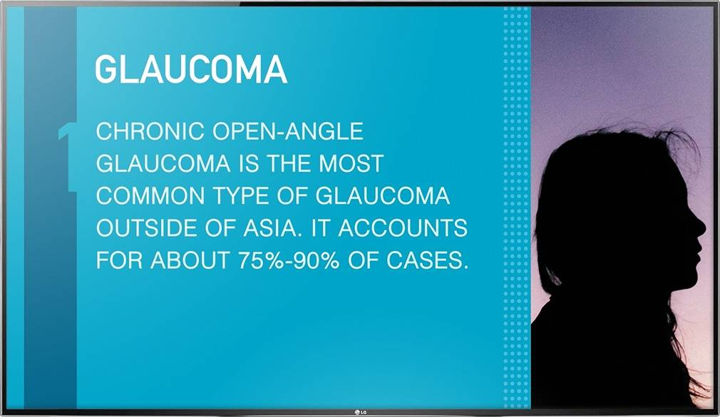 Digital signage TV display showing an Optical Content Library design with facts about Glaucoma