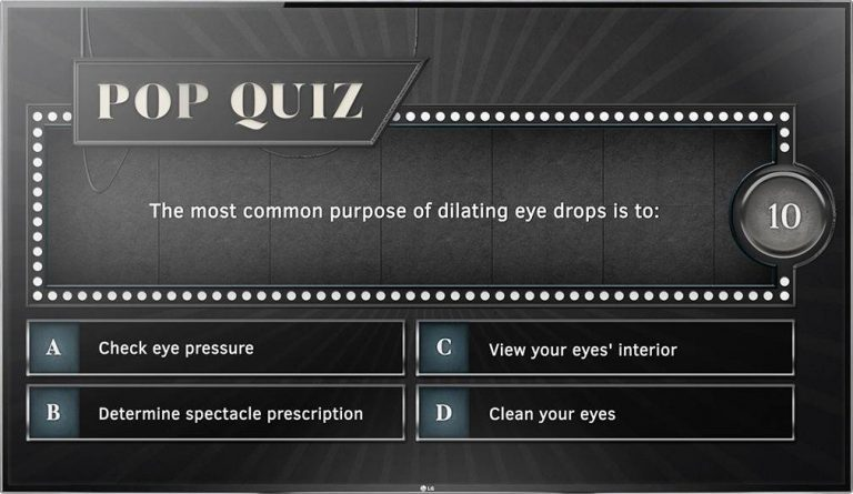 Digital signage TV display showing an Optical Content Library quiz design on eye drops