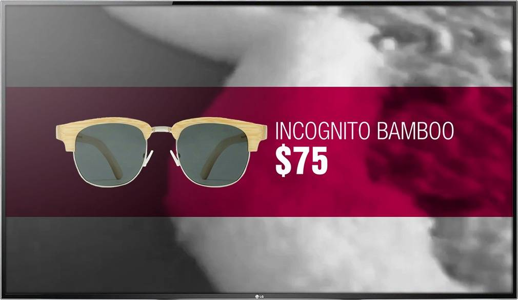 Digital signage TV display showing a promotional design for Incognito Bamboo glasses