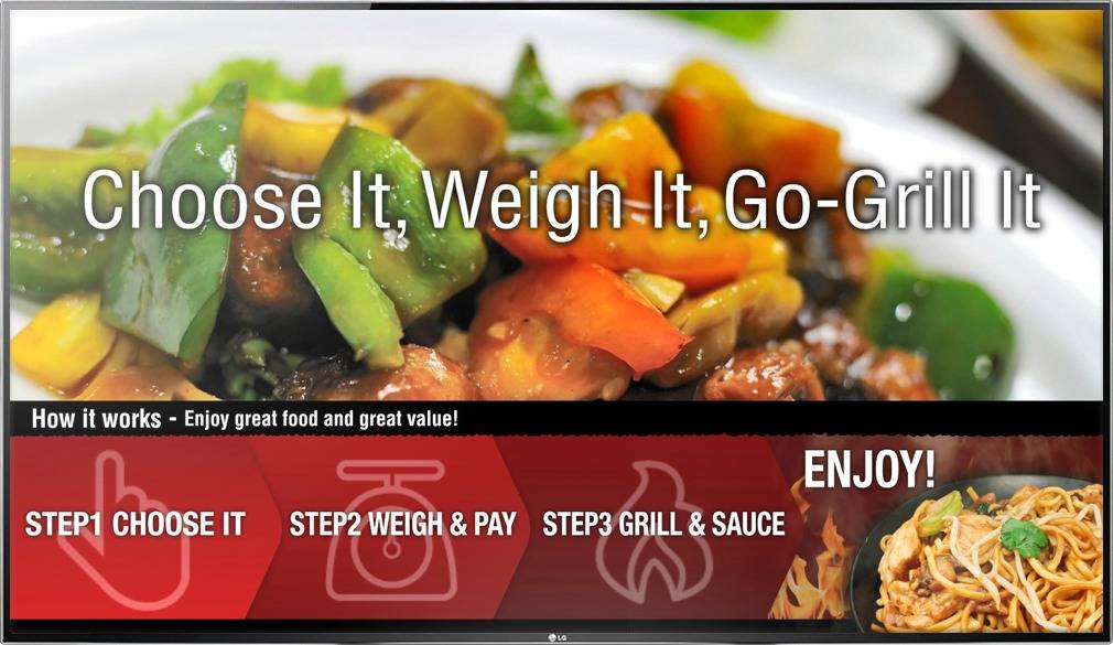 Digital Menu Board TV display for food court restaurant Go-Grill walking customers through the ordering process
