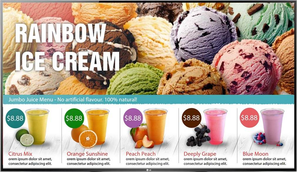 Digital Menu Board TV display for a quick service ice cream, smoothie, juice restaurant with photos