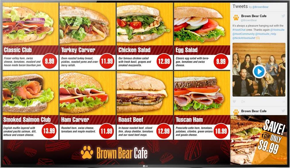 Digital Menu Board TV display for a quick service cafe or deli restaurant with a social media feed