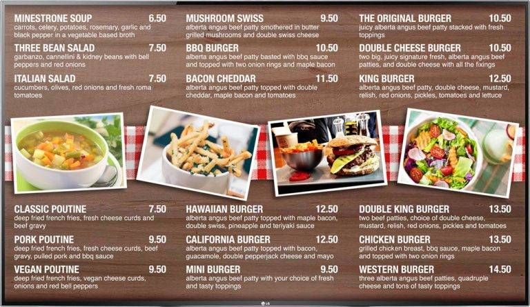 Digital Menu Board TV display for a quick service burger restaurant with photos of menu items