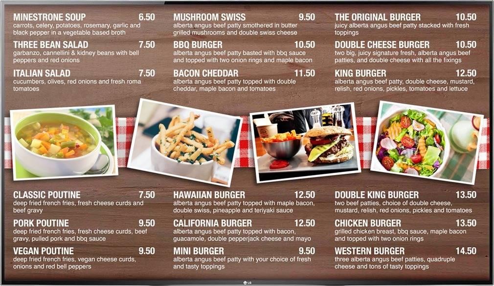 Digital Menu Board TV display for a quick service burger restaurant with photos of menu items