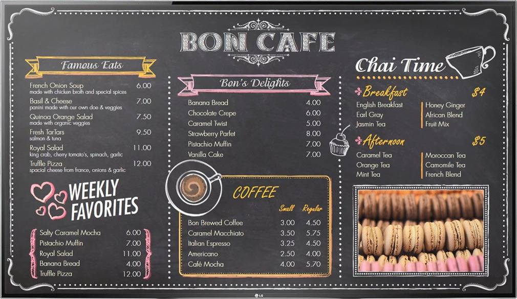 Digital Menu Board TV display for a cafe with menu items like coffee, soup, and pastries
