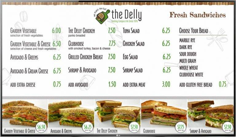 Digital Menu Board TV display for a quick service deli restaurant the Delly with photos of menu items