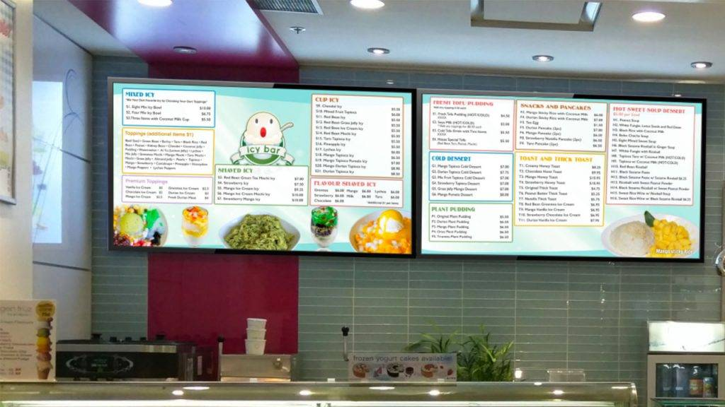 Digital menu boards for Icy Bar, an Asian desert restaurant, design by Kuusoft and operating on NexSigns