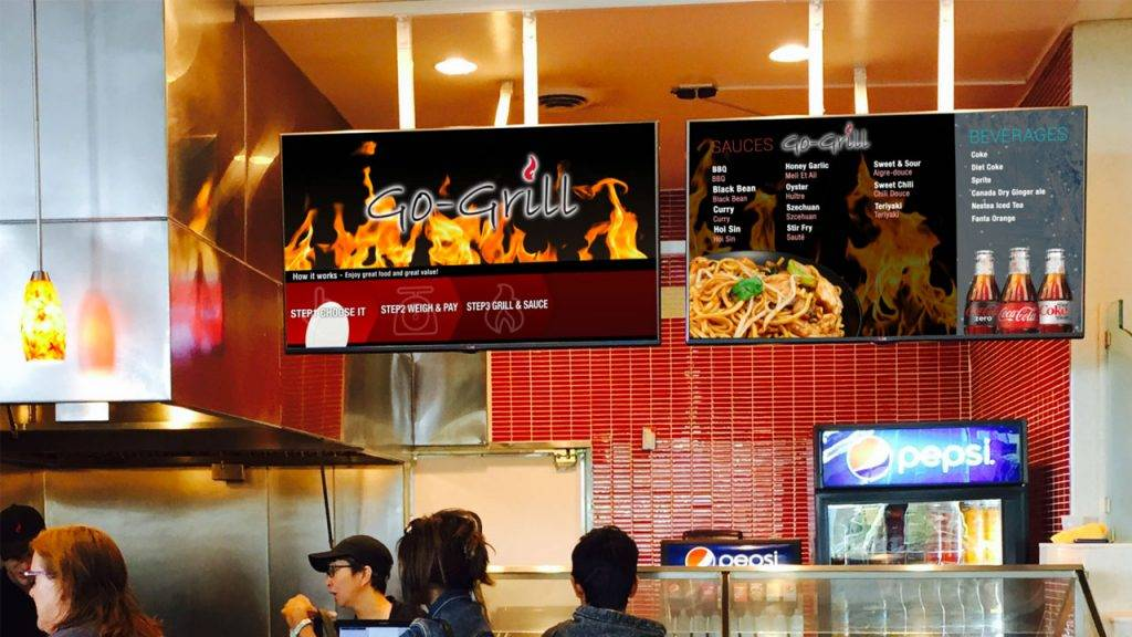 Digital menu boards for Go-Grill, a food court restaurant, design by Kuusoft and operating on NexSigns