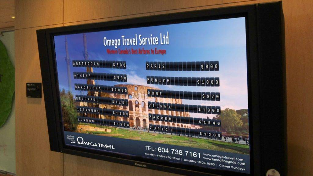 Digital signage TV display for Omega Travel agency with prices for flights to Europe in a ticker board style