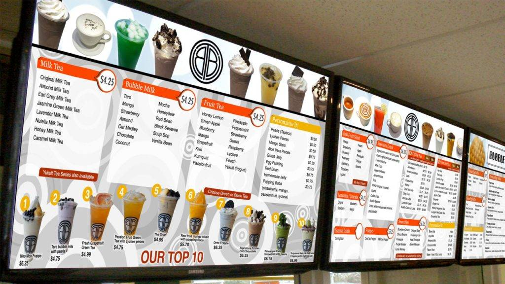 Digital menu boards for The Bubble Tea Shop, a bubble tea restaurant, design by Kuusoft and operating on NexSigns