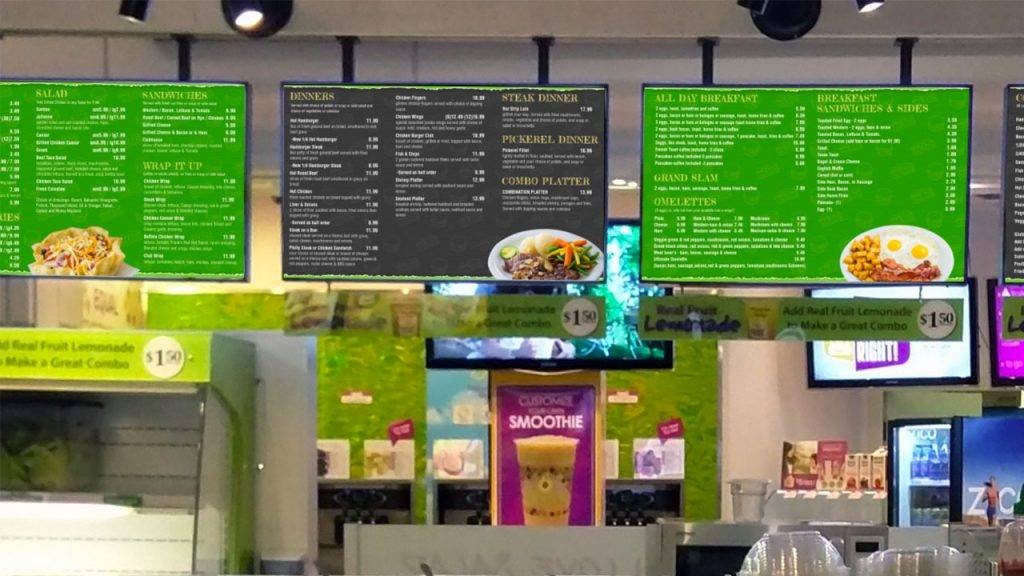 Digital menu boards for Go-Grill, a quick service burger restaurant, design by Kuusoft and operating on NexSigns