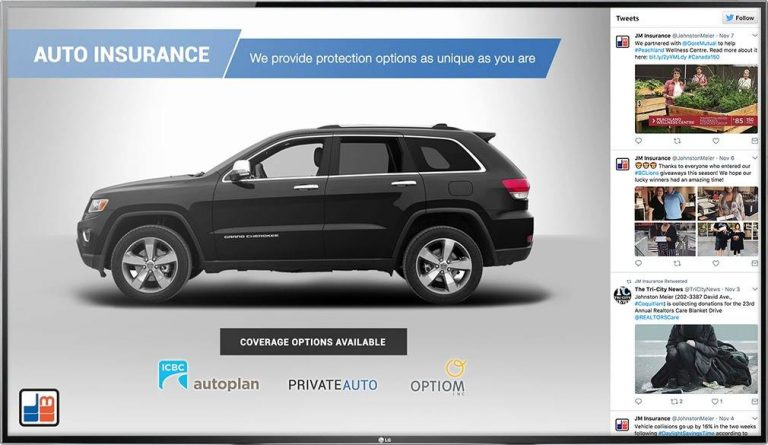 Digital signage TV design for auto insurance detailing coverage options with a live Twitter feed on the side