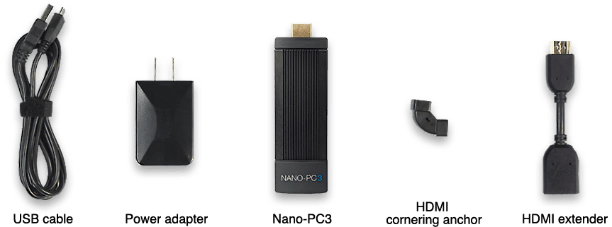 What is in Nano-PC3 box a USB cable, power adapter, Nano-PC3, HDMI cornering anchor, and HDMI extender