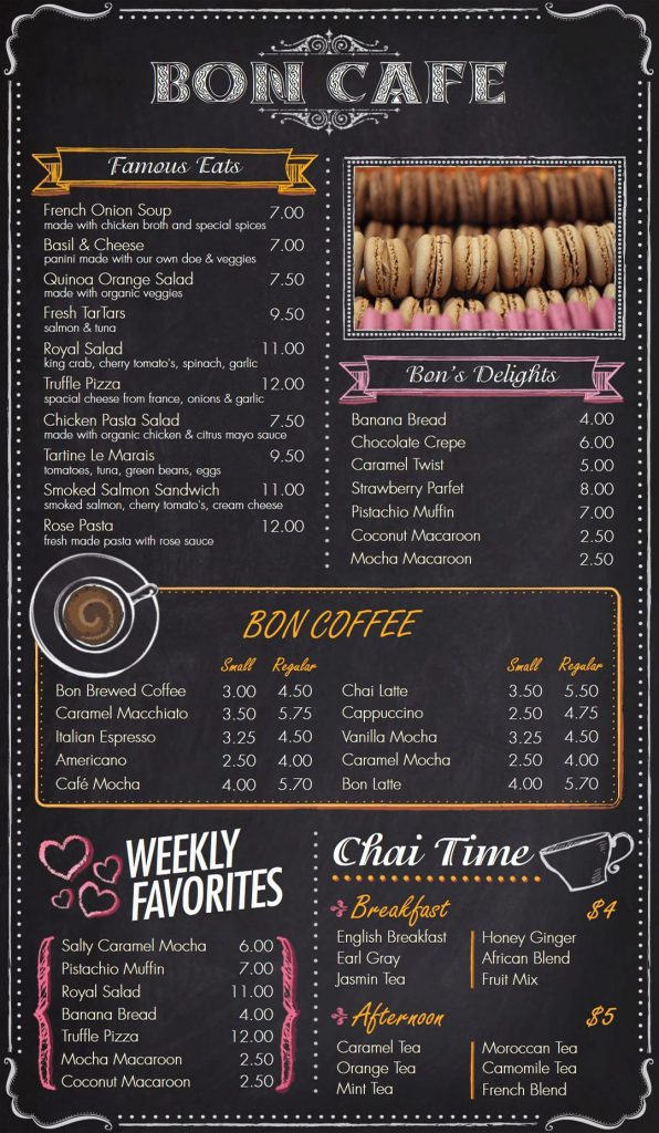 Portrait Digital Menu Board for Cafes