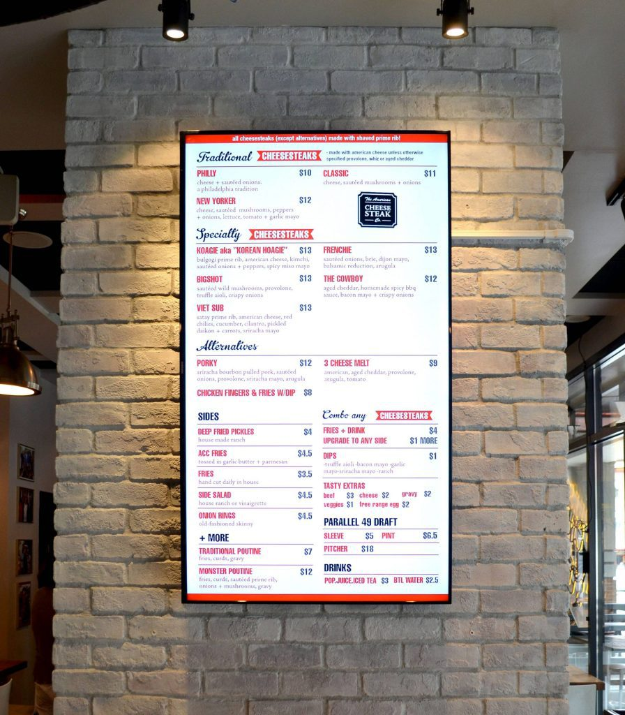 Portrait Digital Menu Board for American Cheesesteak Co