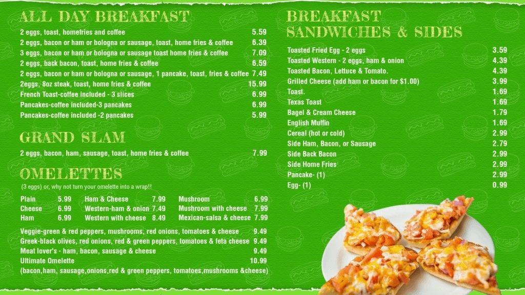 Digital Menu Board Burger World Breakfast