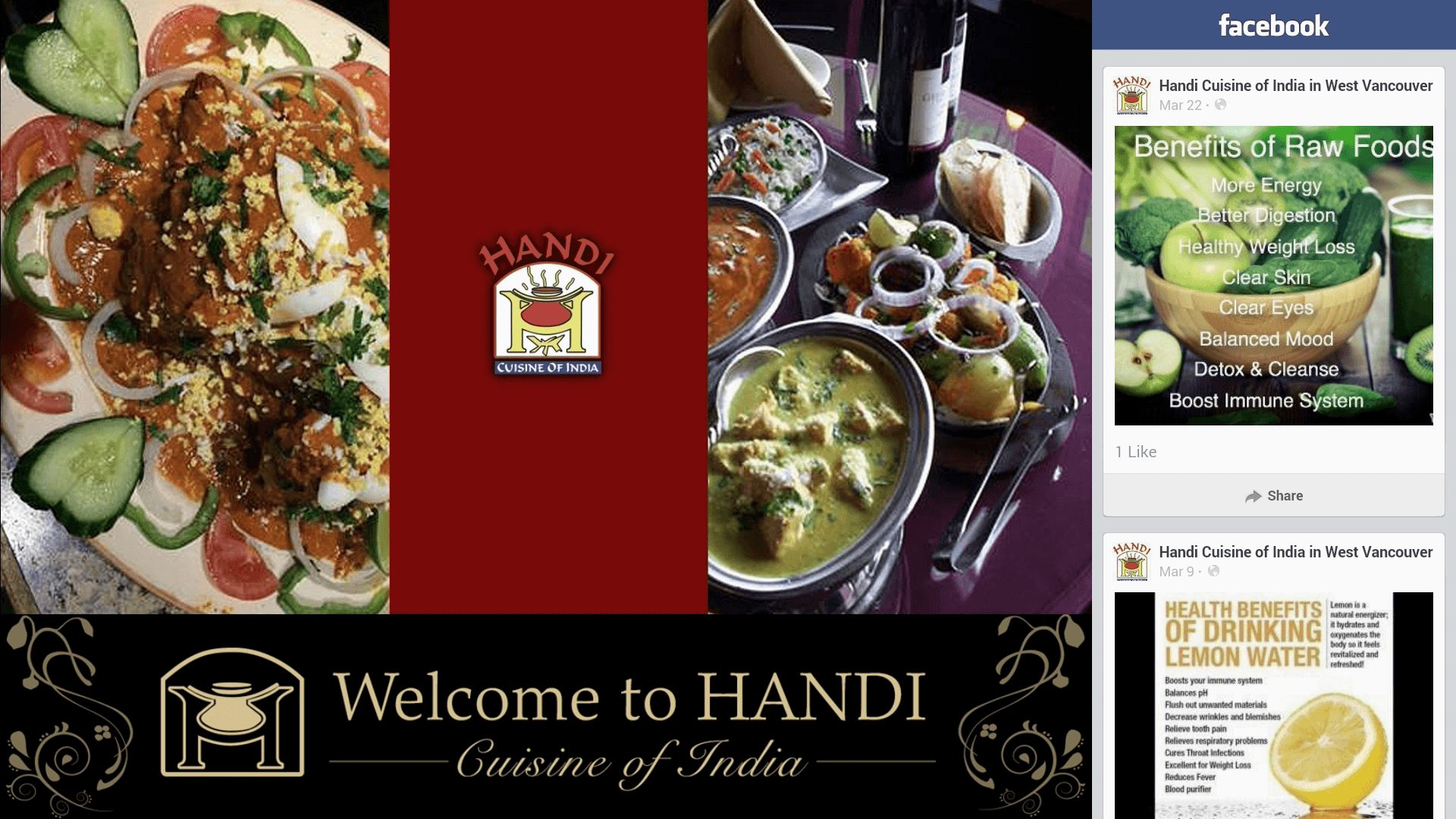 a digital signage for Indian cuisine, with branding and facebook feed