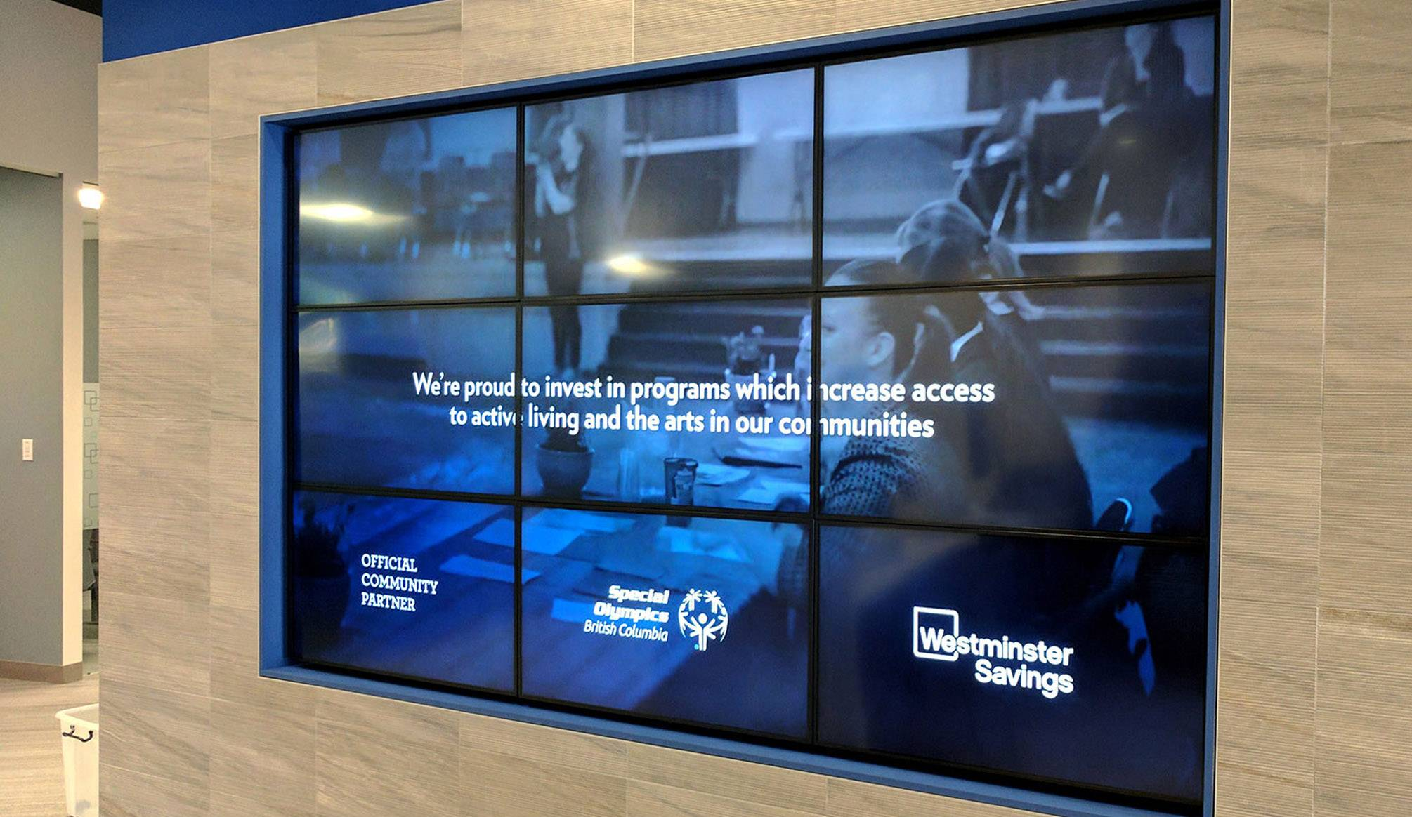 Graphic Design Services - NexSigns for Westminster Savings - Video Wall
